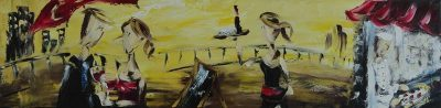 Zabel Artiste-Peintre- Apéro à la Pizzaria- Huile,12x48_web