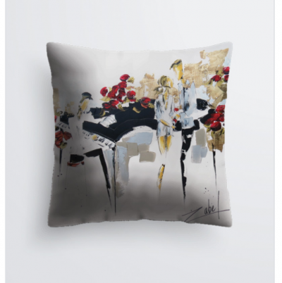 Music and roses cushion