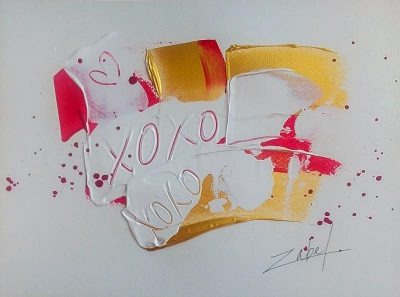 XOXO on paper 2 9x12